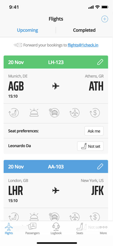 Manage upcoming flights